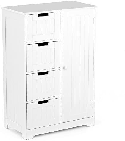 IKAYAA Cómoda Moderna con 4 Cajones y 1 Puerta/Armario de Piso/Mueble para Salón y Habitación y Baño Color Blanco 56 * 30 * 81 cm