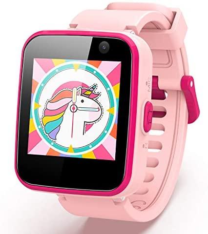 AGPTEK Smartwatch Niños, 8GB Reloj Inteligente de MP3 Música 1.54 Pantalla Táctil en Color con Llamada SOS Linterna Cámara MP3 Juegos Regalo para Navidad Cumpleaños, Rosa