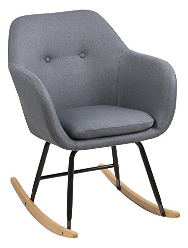 AC Design Furniture Mecedora, Tela, Gris Oscuro, 71 x 57 x 81 cm