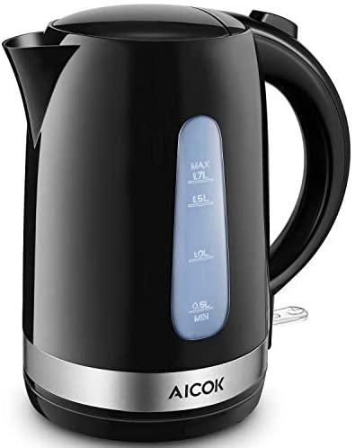 AICOK Hervidor eléctrico [2200W], caldera rápida [1.7l], libre de BPA, gran apertura, inalámbrico, indicador de nivel de agua, apagado automático, té y café. [1.7L] [negro]