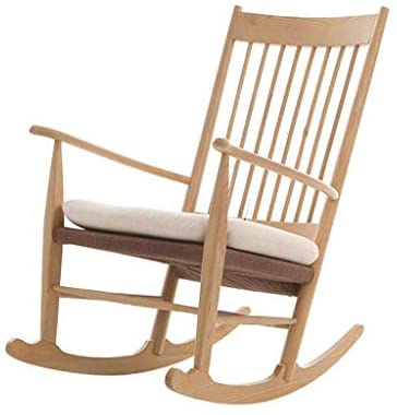 AJH - Sillón Lazy Chair, Mecedora Sillón nórdico de Madera Sillón de salón Balcón Pequeño apartamento Lazy Sofa