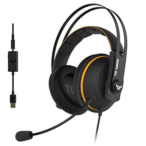 ASUS TUF Gaming H7 Yellow - Auricularescompatibles con PC, Mac, PS4, Nintendo Switch, smartphones y Xbox One, con sonido 7.1 virtual integrado con altavoces Asus Essence,Amarillo