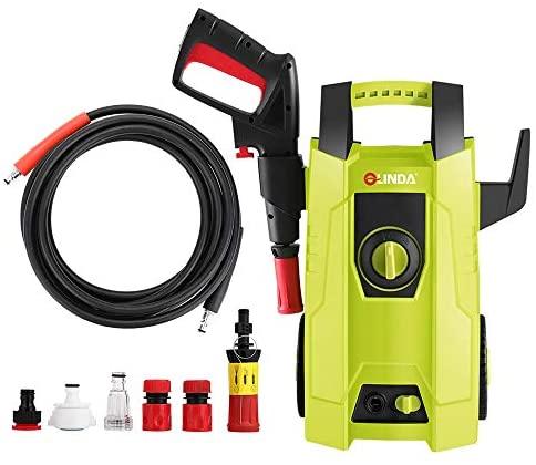 CRZJ Hidrolimpiadora, Hidrolimpiadora de Alta presión 1400W Máquina para automóviles Vallas Patios Limpieza de jardín Carrete de Manguera