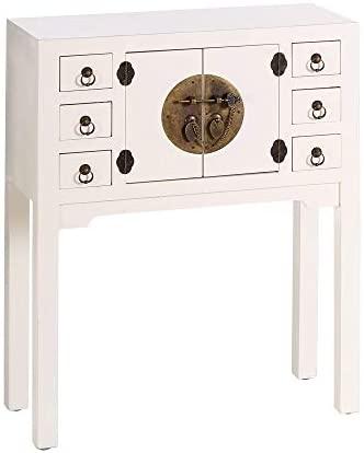 Consola de 6 cajones y 2 Puertas Oriental Blanca de Madera para salón Sol Naciente - LOLAhome