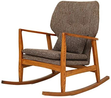 CuteLife Sillón cómodo Mecedora reclinable nórdica Ocio Lazy Chair Sofá Balcón Mecedora Sofá Mecedora Relax (Color : Walnut Color, Size : M)