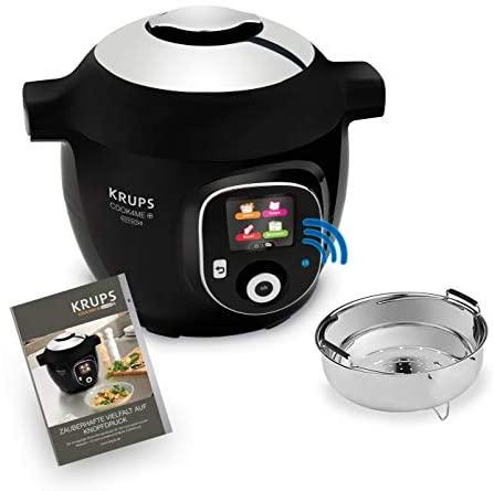 Krups CZ7158 Cook4Me+ Connect - Robot de cocina (1600 W, olla a presión eléctrica, incluye aplicación gratuita, control Bluetooth, 4 litros de capacidad), color negro y gris