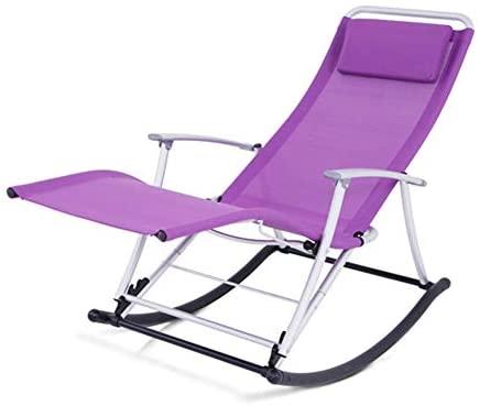 LIXIONG Mecedora Interior Sillones Plegable Sillón con Reposacabezas Portátil Cero Gravedad Planeador Cámping Pescar Playa, 5 Colores (Color : Purple, Size : 150x50x90cm)