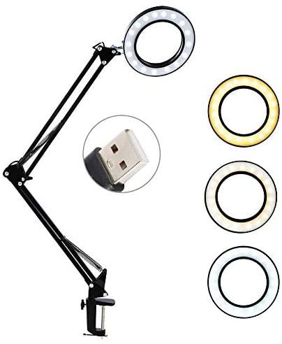 Lámpara Escritorio Lupa LED, 8x Lámpara Lupa Iluminadora de Lectura USB 3 temperaturas de color, Regulable, Clip Maquillaje Portátil Tatuaje Clip Lámpara Cuidado de la Piel Belleza Uñas