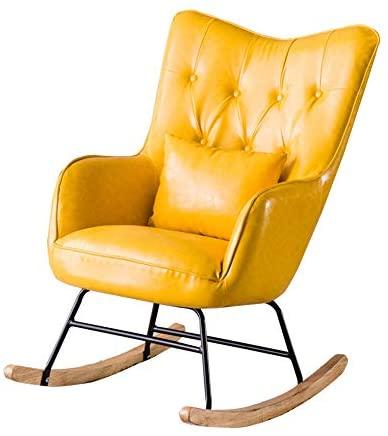 QinWenYan Mecedoras Mecedora cojín del Asiento del sillón Inicio Tumbona Adecuado for Sala de Estar Dormitorio balcón (Color : Yellow, Size : 95x80x66cm)