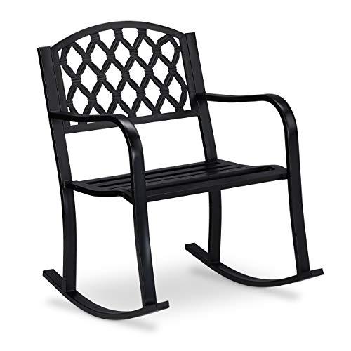 Relaxdays Schaukelstuhl Mecedora para jardín (Hierro Fundido, protección anticorrosiva, 85 x 60 x 74 cm), Color Negro
