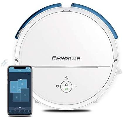 Rowenta Explorer Serie 80 RR7747 robot aspirador con mopa, aspira, barre, pasa la mopa y friega, mapeo permanente y personalizado, conectividad WiFi smartphone y compatible con asistentes de voz