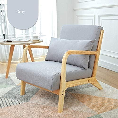 Sillón De Ocio Moderna de Madera Ocio Sillón tapizado de Tela de Lino Butaca Suavemente el sofá con Las piernas de Madera sólidas for la Oficina de la Sala de Estar Silla Mecedora Ajustable