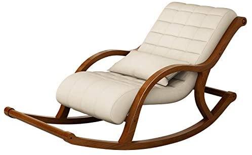 WANGYG Mecedoras de salón Mecedora nórdica de Tela de Madera Maciza Vieja Mecedora reclinable sillón reclinable de Ocio Perezoso sillón de Tela sillón Beige Blanco