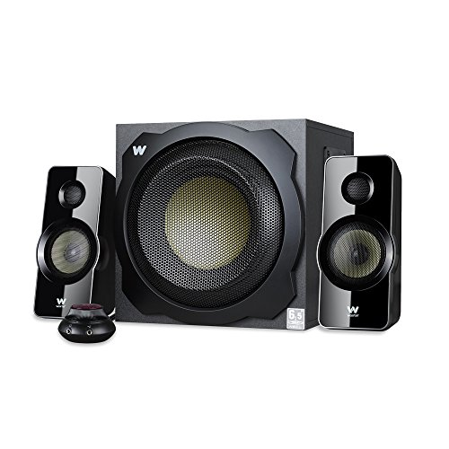 Woxter Big Bass 260 - Altavoces 2.1 150W, Subwoofer de madera, Rejilla metálica, Control de volumen con cable, AUX, Adecuado para TV, PC y videoconsolas, Bookself Speakers, color Negro