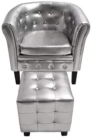Xinglieu sillón Cabriolet con reposapiés de Piel Artificial Plata sillón de Relax sillón Moderna