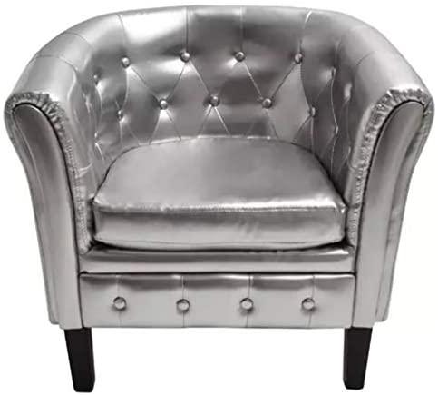 Xinglieu sillón Cabriolet de Piel Artificial Plata sillón de Relax sillón Moderna