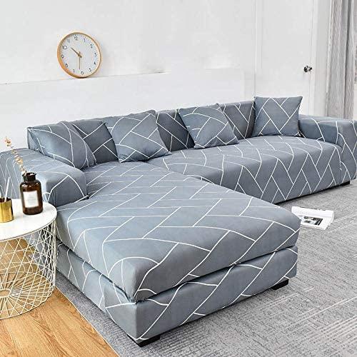 YANJHJY 1 Funda de sofá geométrica, Funda de sofá elástica, para Sala de Estar, Esquina, en Forma de L, Chaise Longue, Funda para sofá, Color 24,1 Unidades 1, Asiento de 90,140 cm