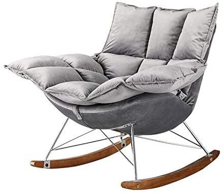 YaGFeng Mecedora Suave cómoda Silla de oscilación de Inicio del sillón Mecedora Cojín for el hogar Muebles de Oficina Mecedoras para los Adultos (Color : Gray, Size : 92x85x58cm)