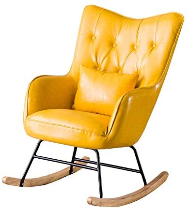 Zhicaikeji Mecedora Mecedora cojín del Asiento del sillón Inicio Tumbona Adecuado for Sala de Estar Dormitorio balcón Mecedoras para los Adultos (Color : Yellow, Size : 95x80x66cm)