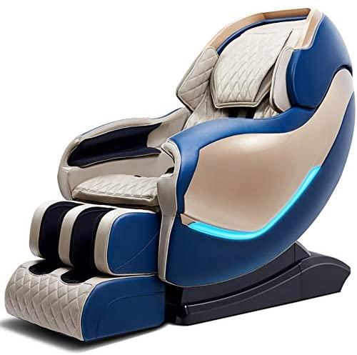 Massage Chair 130cm eléctricos sillones de Masaje Carril SL Inicio de Cuerpo Completo automático de amasamiento 3D Manipulador Cápsula Espacial masajeador,Azul