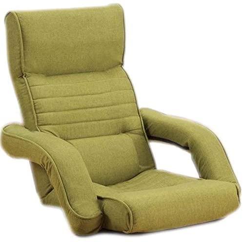 WHOJA Sillón Reclinable Ajuste de 14 velocidades con reposabrazos Dormitorio Confortable Pequeño sofá Plegable Sillón Sillon Relax (Color : Green)