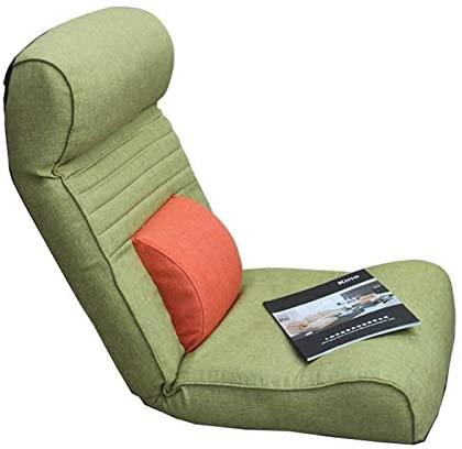 WHOJA Sillón Reclinable Sofá Individual Plegable Respaldo Regulable Tejido de algodón y Lino. Cómodo y Transpirable Dormitorio Sala de Estar amortiguar Sillon Relax (Color : Green)