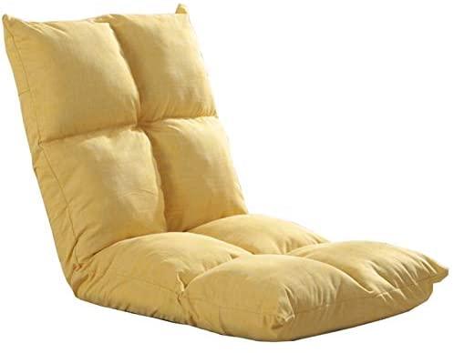 WHOJA Sillón Reclinable Solo Plegable amortiguar Ajuste de 5 velocidades Lavable Dormitorio Sillón Sillon Relax (Color : Yellow)