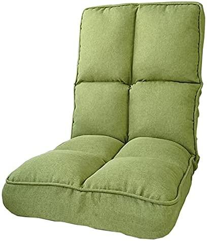 WHOJA Sofá Perezoso Sillón Tejido de algodón y Lino. Plegable Ajuste de 6 Marchas Soltero Casual Dormitorio Sala de Estar 108x45x17cm Sillon Relax(Color:Verde)
