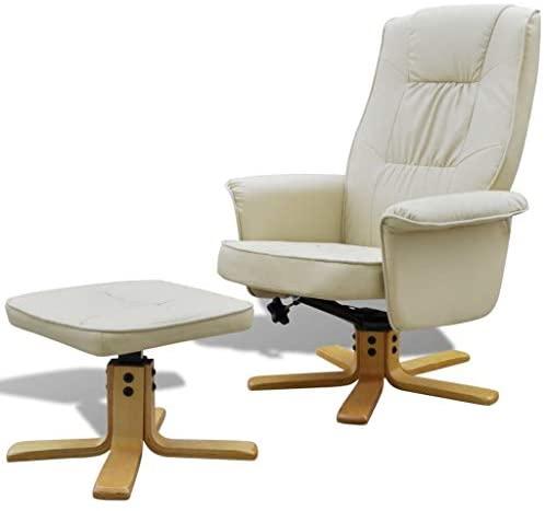 Xinglieu - Sillón ajustable con reposapiés, de piel sintética, color blanco crema, sillón relax moderno