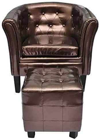 Xinglieu sillón Cabriolet con reposapiés de Piel Artificial Marrón sillón de Relax sillón Moderna