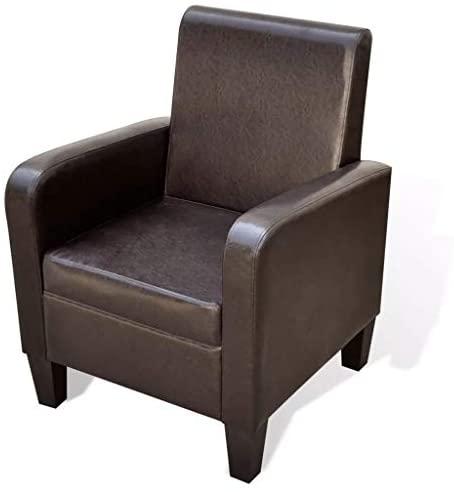 Xinglieu sillón de Piel Artificial Marrón sillón de Relax sillón Moderna