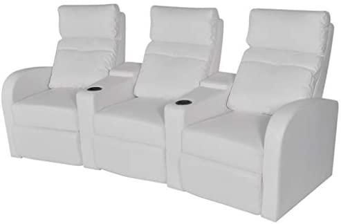 binzhoueushopping Sofá reclinable de 3plazas de Piel Artificial Blanca diseño cómodo, Moderno, cómodo y Robusto sillón de Oficina