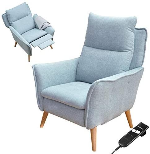 place to be. Sillón de relax eléctrico ajustable con respaldo alto, moderno estilo escandinavo, color azul claro P9908 con protección antimanchas de roble macizo.