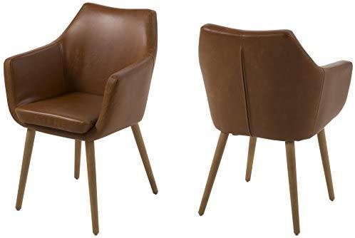 AC Design Furniture Lore - Silla con brazos (revestimiento de piel artificial, patas de roble), Marrón