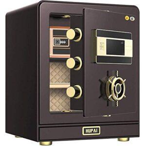 Caja de 50cm almacenamiento de efectivo Caja de Seguridad del Ministerio del Interior de seguridad inteligente 3C seguro certificado Inicio pequeña caja fuerte de acero for oficina (Color: Marrón, Tam