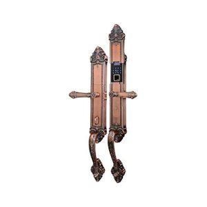 Lknjll Bloqueo de la puerta de huellas dactilares (bronce envejecido), bloqueo de la puerta de entrada sin llave 3 en 1 con teclado y ID de huellas dactilares biométricos, edición de cierre de bloqueo